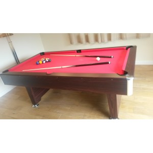7ft cobra premier slate bed pool table, dark effect, red