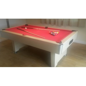 7ft cobra premier slate bed pool table, oak effect, red