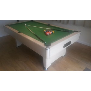 7ft cobra premier slate bed pool table, oak effect, green